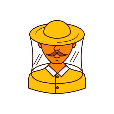 apiarist: Vector illustration apiarist in outline style. Beekeeper and apiarist. Man apiarist colorful vector icon. Beekeeper and apiarist profession avatar. Illustration