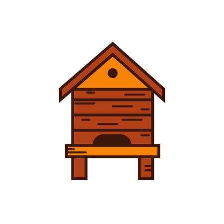 bee house: Honey bee beehive illustration. Beehive vector symbol. Bee, honey, bee house, honeycomb, beehive, flower. Outline style honey bee beehive. Vector icon beehive. Mead bee beehive illustration