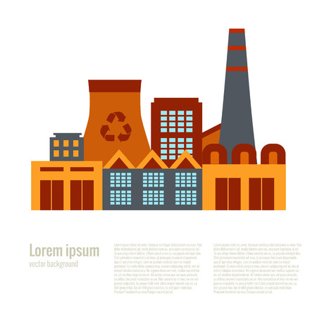 recycling plant: Vector illustration waste recycling plant in flat style. Garbage recycling plant illustration. Industrial icon of waste recycling plant. Waste recycling plant poster. Illustration