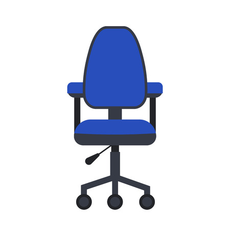 chair isolated: Office chair flat icon. Vector office chair illustration. Concept of cartoon office chair desk. Colorful office chair icon for your design. Flat cartoon chair isolated. The office furniture icon.