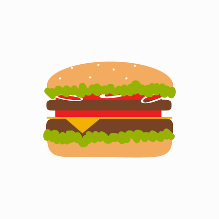 foodstuffs: Fast food background concept. Vector fast food meal illustration. Concept of flat fast food icons. Colorful fast food vector concept  for your design. Fast food elements isolated.