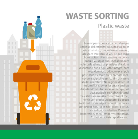 categories: Plastic waste sorting flat concept.  Vector illustration of plastic waste. Plastic waste recycling categories and garbage disposal. Plastic waste types sorting management
