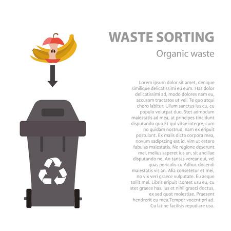 organic waste: Los residuos org�nicos de clasificaci�n concepto plana. Ilustraci�n del vector de los residuos org�nicos. categor�as de reciclaje de residuos org�nicos y recogida de basuras. tipos de residuos org�nicos de clasificaci�n de gesti�n.