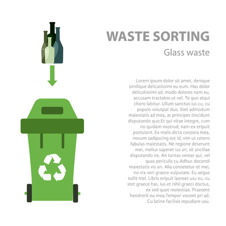 waste disposal: Glass waste sorting flat concept.  Vector illustration of glass waste. Glass waste recycling categories and garbage disposal. Glass waste types sorting management .