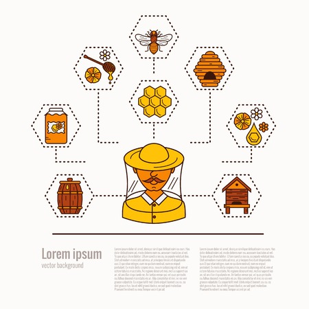 mead: Apiary concept flat illustration. Apiary vector symbols. Bee, honey, bee house, beekeeper, Apiarist, honeycomb, beehive, flower. Outline style apiary concept. Vector apiary concept for your designs.