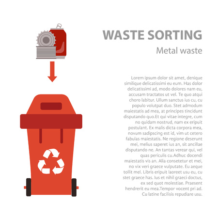 categories: Metal waste sorting flat concept.  Vector illustration of metal waste. Metal waste recycling categories and garbage disposal. Metal waste types sorting management .