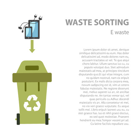 e waste: E-waste sorting flat concept.  Vector illustration of e-waste. E- waste recycling categories and garbage disposal.  E-waste types sorting management .