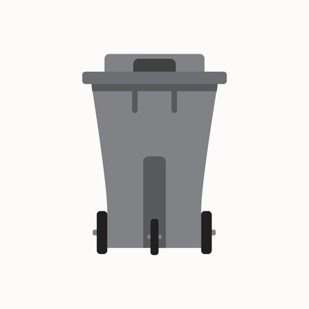 pail tank: Waste sorting garbage bin isolated vector. Waste management and recycle concept with waste bin isolated. Separation of waste trash bin isolated. Sorting recycling waste can. Gray garbage can vector.