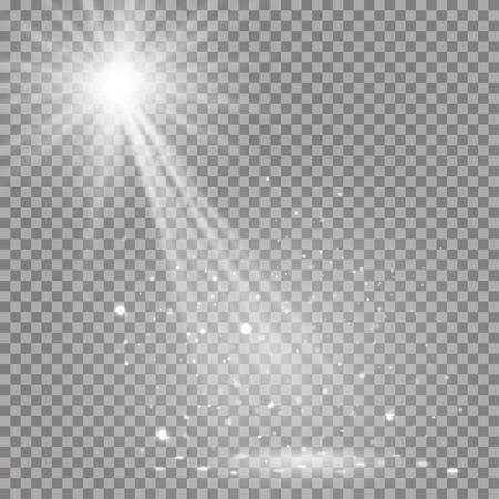 disco lights: White glowing transparent disco lights background. Vector disco lights background illustration. Transparent shine lights background. Bright lighting effect disco lights. Realistic studio illumination. Illustration
