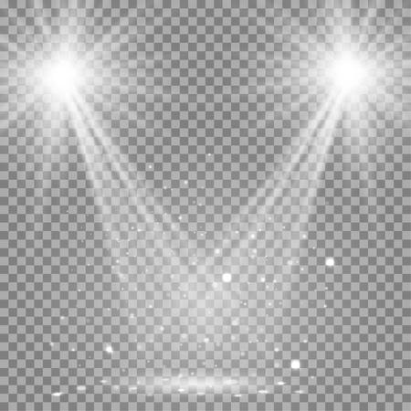 White glowing transparent disco lights background. Vector disco lights background illustration. Transparent shine lights background. Bright lighting effect disco lights. Realistic studio illumination. Иллюстрация