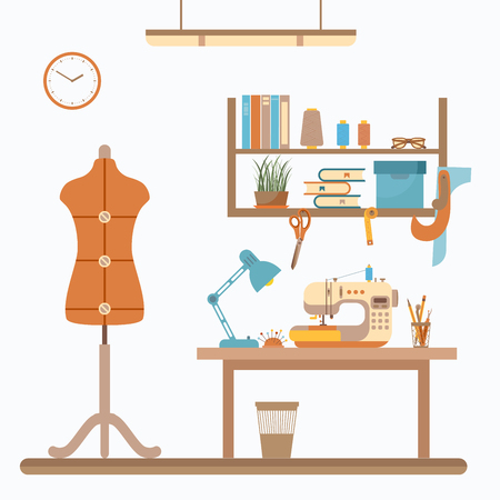 fashion set: colorful sewing workshop concept. Flat sewing info graphic design elements: scissor, machine, pin, iron. Tailoring industry concept of dressmaking tools icons. Sewing workshop illustration.