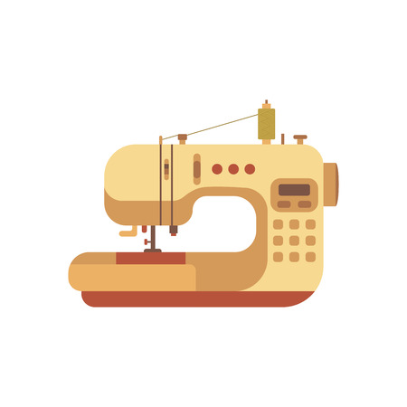 colorful sewing machine illustration. Flat sewing machine infographic design elements: scissor, pin, iron. Tailoring industry concept of dressmaking tools icons. Sewing workshop illustration.