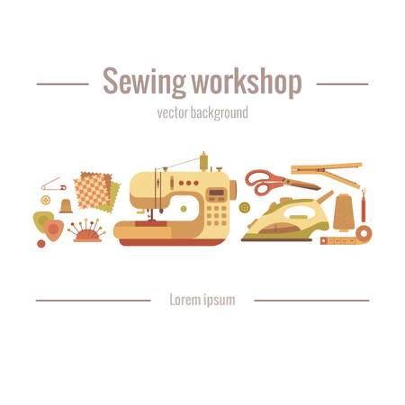tailoring: colorful sewing workshop concept. Flat sewing infographic design elements: scissor, machine, pin, iron. Tailoring industry concept of dressmaking tools icons. Sewing workshop illustration.