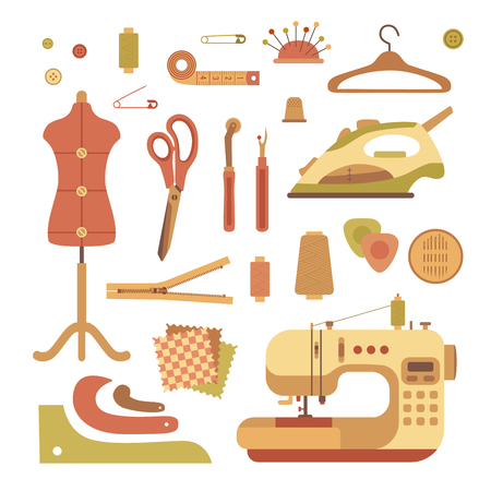 dressmaking: colorful sewing machine illustration. Flat sewing machine infographic design elements: scissor, pin, iron. Tailoring industry concept of dressmaking tools icons. Sewing workshop illustration.