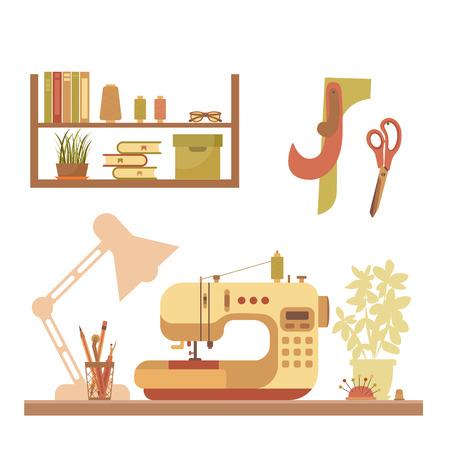 Vector Bunte Nähwerkstatt Konzept. Flache Nähen Infografik Design ...