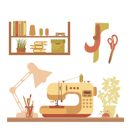 colorful sewing workshop concept. Flat sewing infographic design elements: scissor, machine, pin, iron. Tailoring industry concept of dressmaking tools icons. Sewing workshop illustration.