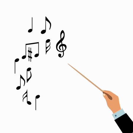 chorus: Conductor hands concept. Vector choir conductor music illustration. Concept of flat conductor orchestra hands. Colorful chorus conductor concept  for your design. Conductor music banton isolated. Illustration