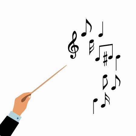 지휘자 손 개념입니다. 벡터 합창단 지휘자 음악 그림. 평면 도체 오케스트라 손의 개념입니다. 디자인을위한 다채로운 합창 지휘자 개념입니다. 지휘 일러스트