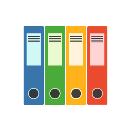 Office folder flat icon. Vector file organizer silhouette illustration. Concept file organizer. Colorful office folder icon for your design. Flat cartoon office folder isolated.  イラスト・ベクター素材
