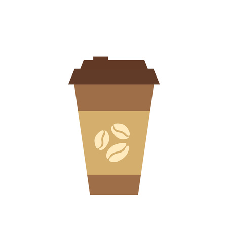 Coffee cup  flat icon. Vector coffee to go cup silhouette illustration. Concept of tee glass silhouette. Colorful tee glass icon for your design. Flat cartoon coffee cup silhouette isolated. Ilustrace