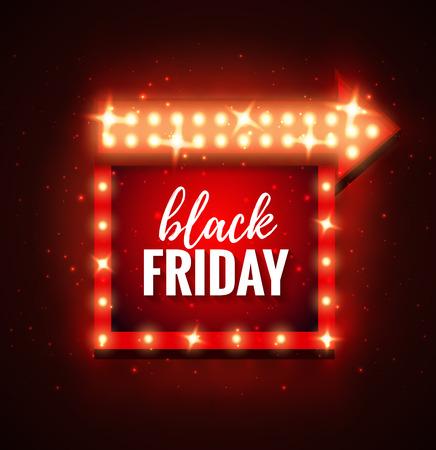 Black Friday verkoop retro licht frame met pijl gloeiende lampen. Vector achtergrond ontwerp sjabloon voor verkoop en korting, zaken, reclame, promotie, brochure, banner, presentatie. Stock Illustratie
