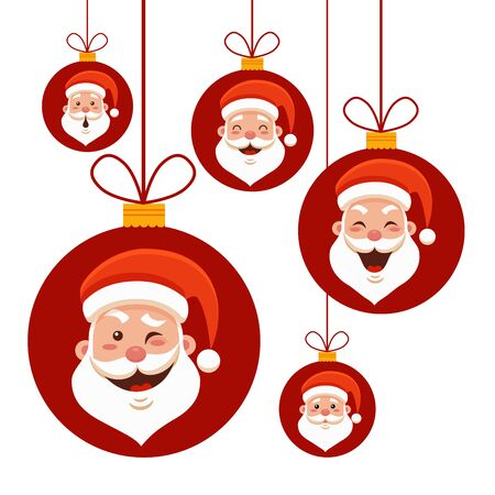 Cartoon Santa Claus emotions set for Your Christmas and New Year greeting Design or Animation. Vector isolated illustration of Santa Claus hands with different emotions in colorful flat style