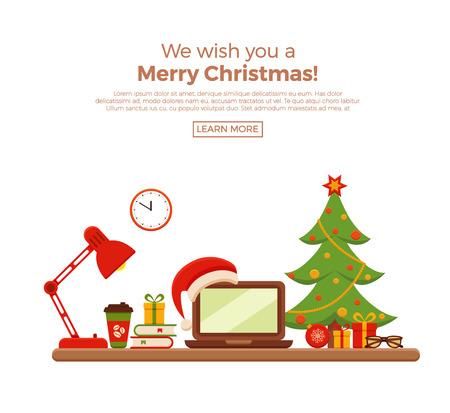 Kerst werkplek interieur vector vlakke stijl illustratie. New Year bureau, laptop, kerstboom, lamp, fauteuil, geschenken, Santa Claus warmte. Kleurrijke concept voor huiswerk, freelance, party.