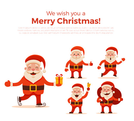 cartoon santa claus set for your christmas and new year greeting design or animation vector