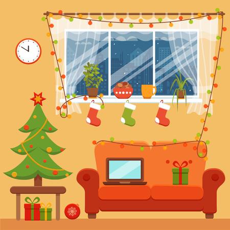 Sala de Interior de Navidad en el estilo de dibujos animados de colores planos. árbol de navidad, regalos, decoración, sofá, ventana, ordenador portátil. noche de celebración ilustración vectorial interior noel navidad acogedor. Foto de archivo - 66898826