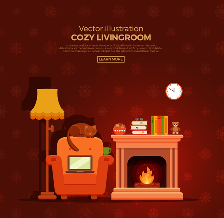 Colorful vector cozy fireplace room interior in cartoon flat style. Fireplace, armchair, lamp, cat, laptop, tea. Comfortable cozy warm fireplace flame bright winter interior illustration.