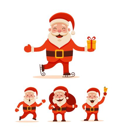 Cartoon Santa Claus Set for Your Christmas and New Year greeting Design or Animation. Vector isolated  illustration of Santa Claus different poses and different emotions in colorful flat style