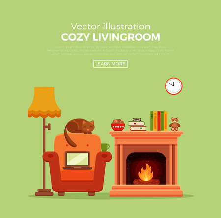 tea lamp: Colorful vector cozy fireplace room interior in cartoon flat style. Fireplace, armchair, lamp, cat, laptop, tea. Comfortable cozy warm fireplace flame bright winter interior illustration.