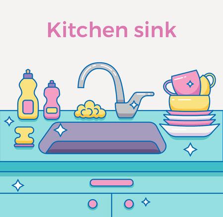 Évier de cuisine avec des ustensiles de cuisine, vaisselle, ustensiles, serviettes, lavage éponge, détergent à vaisselle contour coloré illustration de bande dessinée. cuisine domestique intérieur illustration de vecteur pour le ménage et la conception propre