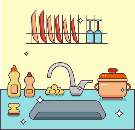 washstand: Kitchen sink with kitchenware, dishes, utensil, towel, wash sponge, dish detergent colorful outline cartoon illustration. Domestic kitchen interior vector illustration for household and clean design