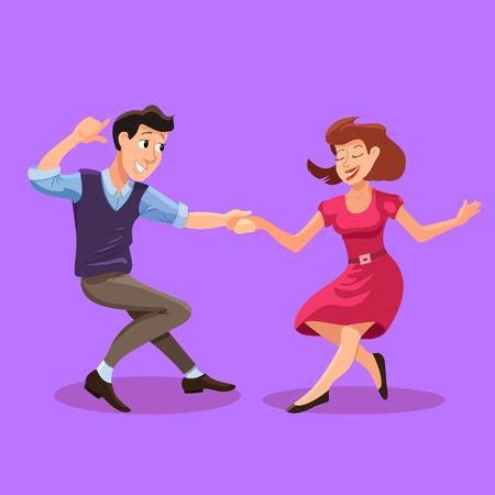 flapper: Ilustración del vector de baile hombres y una mujer en el estilo de dibujos animados plana. Parte concepto de baile con la chica y chico. Ilustración de la pareja de baile de jóvenes felices aislada Vectores