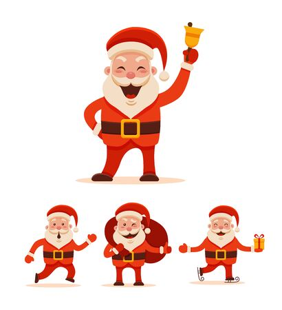 Cartoon Santa Claus Set for Your Christmas and New Year greeting Design or Animation. Vector isolated  illustration of Santa Claus different poses and different emotions in colorful flat style 版權商用圖片 - 67895397