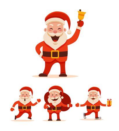 Cartoon Santa Claus Set voor uw Kerstmis en Nieuwjaar groet ontwerp of animatie. De vector geïsoleerde illustratie van verschillende Santa Claus stelt en verschillende emoties in kleurrijke vlakke stijl Stock Illustratie