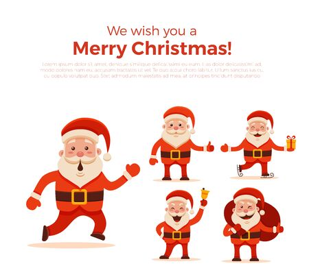 Cartoon Santa Claus Set For Your Christmas And New Year Greeting ...