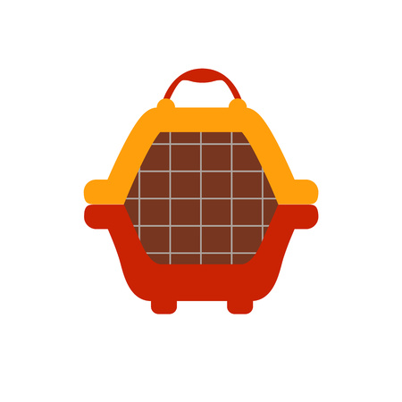 ploy: Animal carrier flat icon. Vector pet dog carrier illustration. Concept of cartoon animal carrier. Colorful dog carrier icon for your design. Flat cartoon animal carrier isolated.