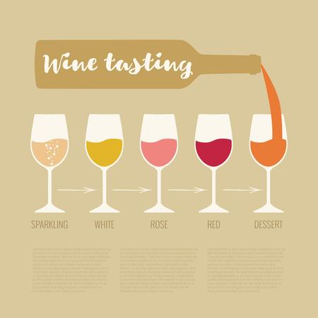 Vector concept de dégustation de vin pour bar ou restaurant. Vin élégant dégustation illustration avec des lunettes et une bouteille pour cave