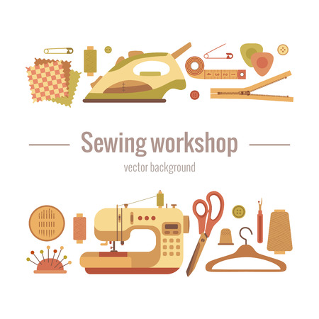 Vector colorful sewing workshop concept. Flat sewing infographic design elements scissor, machine, pin, iron. Tailoring industry concept of dressmaking tools icons. Sewing workshop illustration. Illustration