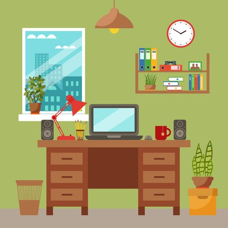 Beau Vector   Vector Colorful Office Desk With Indoor Plants. Work Interior  Design Elements Laptop, Indoor Plants. Office Desk Closeup With Indoor  Plants.