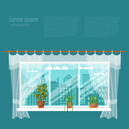 curtains: Colorful flat style illustration of window with curtains and flowers. Cartoon vector poster room interior window curtains with indoor plants.
