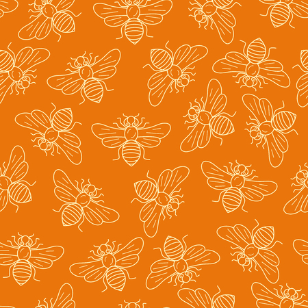 mead: Vector seamless honey bee pattern made in outline style. Apiary design mead bee pattern for packaging, cards. Illustration