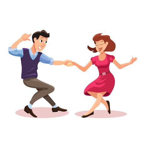 Vector illustratie van de dansende mannen en vrouwen in cartoon vlakke stijl. Dance party concept met meisje en jongen. Illustratie van dansend paar van gelukkige jonge mensen geïsoleerd