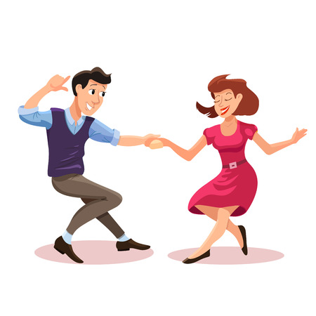 Vector illustration of dancing men and woman in cartoon flat style. Dance party concept with girl and boy. Illustration of dancing couple of happy young people isolated Illustration