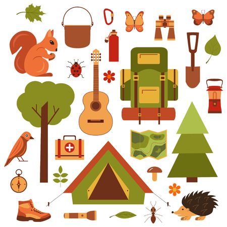 eco tourism: Vector cartoon eco tourism icons camping set tent, backpack, bird, squirrel, hedgehog. Flat illustration of summer eco tourism camping icons. Ecological travelling background for eco tourism designs.