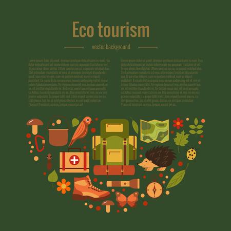 turismo ecologico: Vector de dibujos animados iconos de eco turismo tienda de campaña conjunto, mochila, pájaro, ardilla, erizo. Ilustración plana de iconos de camping turístico eco verano. fondo que viaja ecológico para los diseños de eco turismo. Vectores