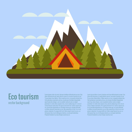 eco tourism: Vector cartoon eco tourism camping concept with tent, trees, mountain. Flat illustration of summer eco tourism camping poster. Ecological travelling background for eco tourism designs. Illustration