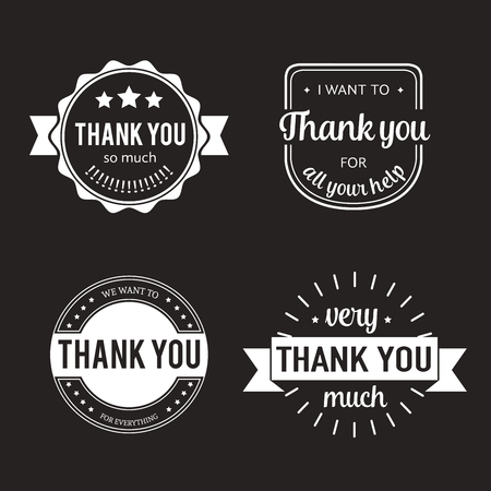 white sticker: Set of badges with thank you graphics and design elements. Vector thankful labels and logo for gratitude, branding, advertisement. Template of logo and badges with thank you design